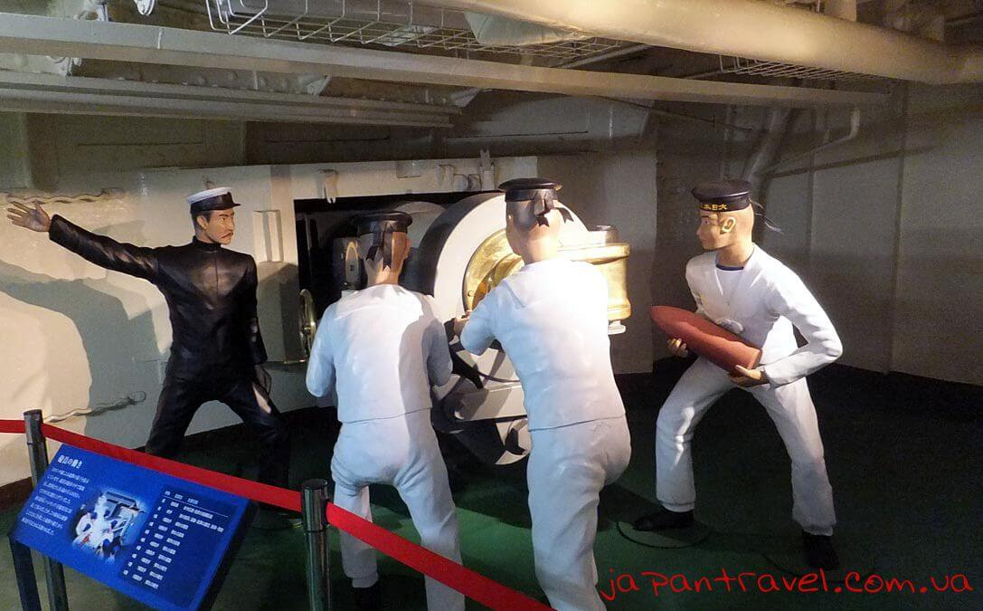 60  a replica of the firing squad in which would have operated the six inch guns