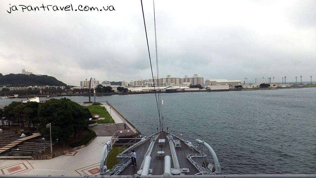 67 top view on two the twelve inch cannons on Mikasa