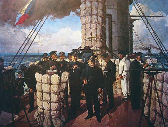 Адмірал Тоґо з командою перед Цусімською битвою